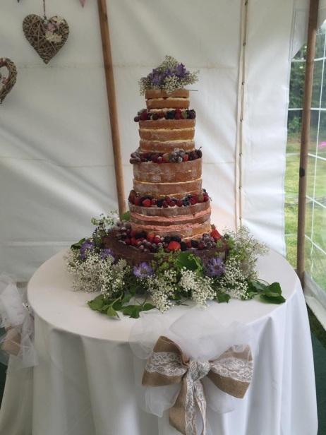 Naked 4 tier wedding cake